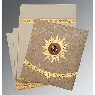 Brown Wooly Embossed Wedding Card : CW-1225 - IndianWeddingCards