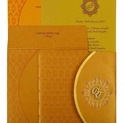 Copper Shimmery Floral Themed - Foil Stamped Wedding Invitation : CS-1916 - IndianWeddingCards