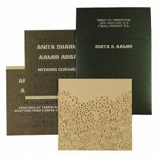Cream Shimmery Laser Cut Wedding Card : CD-1595 - IndianWeddingCards