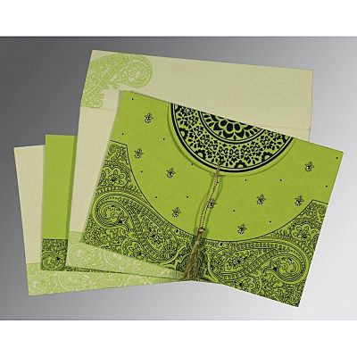 Green Handmade Cotton Embossed Wedding Card : CI-8234H - IndianWeddingCards