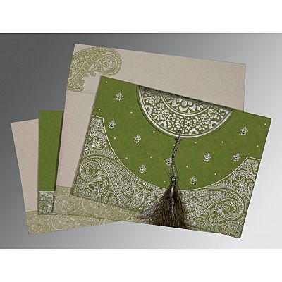 Green Handmade Cotton Embossed Wedding Card : CS-8234C - IndianWeddingCards
