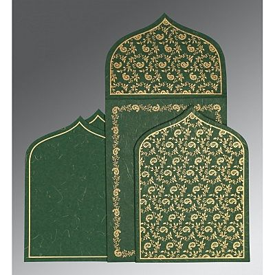 Green Handmade Silk Paisley Themed - Glitter Wedding Invitation : CIN-8208L - IndianWeddingCards
