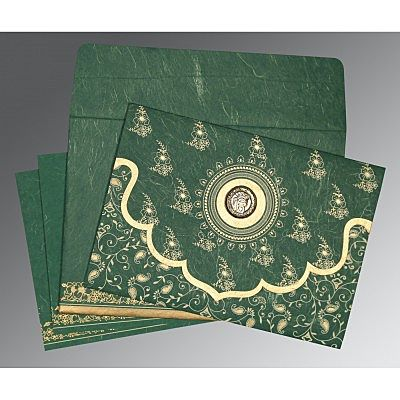 Green Handmade Silk Screen Printed Wedding Invitation : CS-8207L - IndianWeddingCards