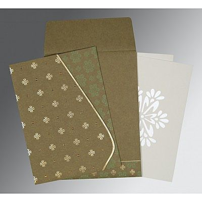 Green Matte Floral Themed - Foil Stamped Wedding Invitation : CSO-8237E - IndianWeddingCards