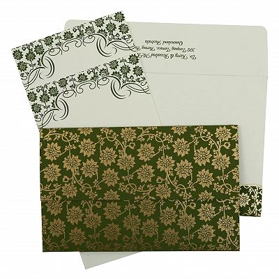 Green Matte Floral Themed - Screen Printed Wedding Invitation : CC-810D - IndianWeddingCards