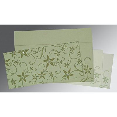 Green Matte Floral Themed - Screen Printed Wedding Invitation : CRU-8225E - IndianWeddingCards