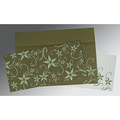 Green Matte Floral Themed - Screen Printed Wedding Invitation : CW-8225F - IndianWeddingCards