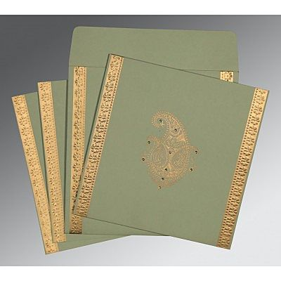 Green Matte Paisley Themed - Embossed Wedding Invitation : CC-8231G - IndianWeddingCards