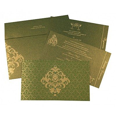 Green Shimmery Damask Themed - Screen Printed Wedding Card : CG-8257A - IndianWeddingCards