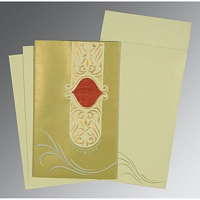 Green Shimmery Embossed Wedding Card : CD-1317 - IndianWeddingCards
