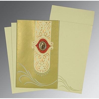 Green Shimmery Embossed Wedding Card : CRU-1317 - IndianWeddingCards