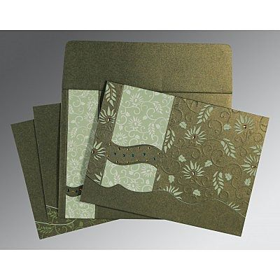 Green Shimmery Floral Themed - Embossed Wedding Invitation : CC-8236H - IndianWeddingCards