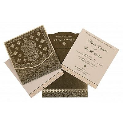 Green Shimmery Screen Printed Wedding Invitation : CRU-800A - IndianWeddingCards