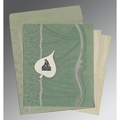 Green Wooly Embossed Wedding Card : CG-8210E - IndianWeddingCards
