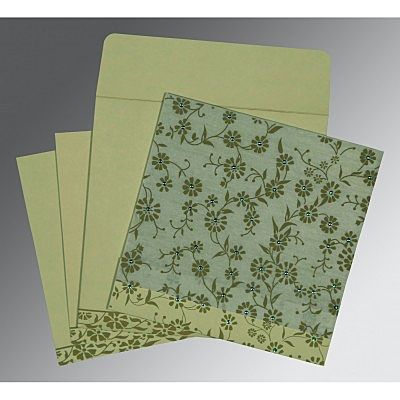 Green Wooly Floral Themed - Screen Printed Wedding Card : CC-8222G - IndianWeddingCards
