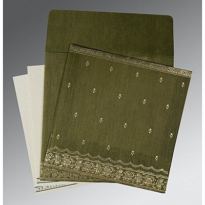 Green Wooly Foil Stamped Wedding Card : CC-8242O - IndianWeddingCards