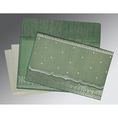 Green Wooly Foil Stamped Wedding Invitation : CG-8241C - IndianWeddingCards