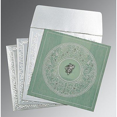 Green Wooly Screen Printed Wedding Card : CC-8214P - IndianWeddingCards