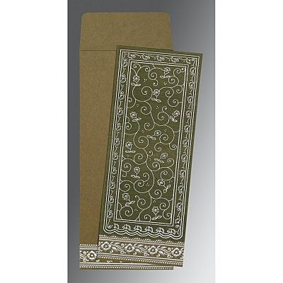 Green Wooly Screen Printed Wedding Invitation : CI-8220Q - IndianWeddingCards
