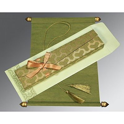Green Wooly Wedding Card : CSC-5014A - IndianWeddingCards