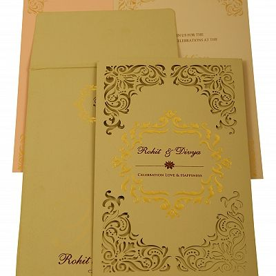 Grey Matte Laser Cut Wedding Invitation : CIN-1908 - IndianWeddingCards