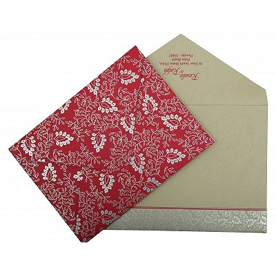 Hot Pink Matte Paisley Themed - Screen Printed Wedding Invitation : CSO-811E - IndianWeddingCards