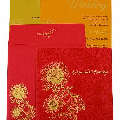 Hot Pink Shimmery Floral Themed - Embossed Wedding Invitation : CG-1898 - IndianWeddingCards