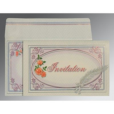 Ivory Embossed Wedding Card : CG-1327 - IndianWeddingCards