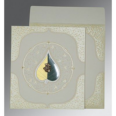Ivory Matte Embossed Wedding Card : CC-1153 - IndianWeddingCards