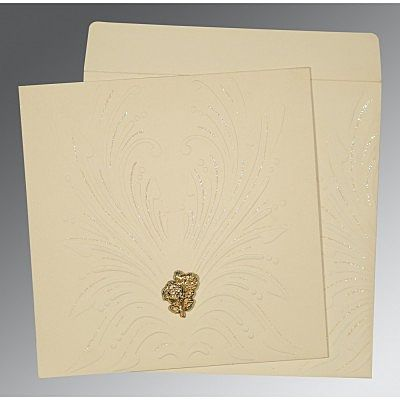 Ivory Matte Embossed Wedding Invitation : CC-1188 - IndianWeddingCards