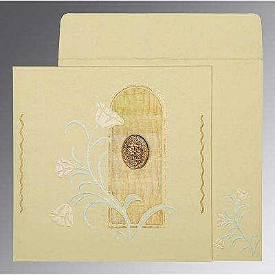 Ivory Matte Embossed Wedding Card : CI-1203 - IndianWeddingCards