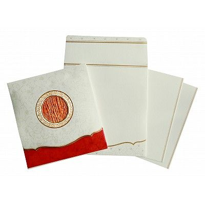 Ivory Matte Embossed Wedding Invitation : CS-1171 - IndianWeddingCards