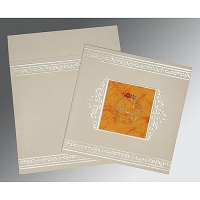 Ivory Matte Embossed Wedding Invitation : CW-2016 - IndianWeddingCards