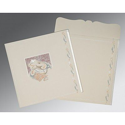 Ivory Matte Embossed Wedding Card : CW-2154 - IndianWeddingCards