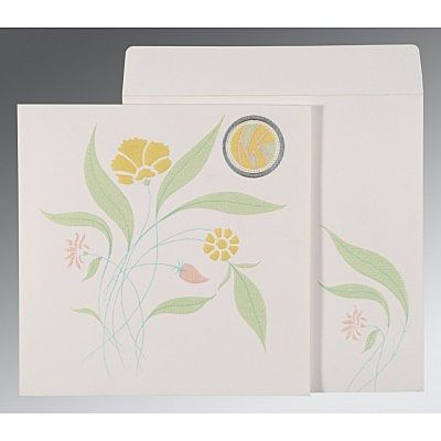 Ivory Matte Floral Themed - Embossed Wedding Invitation : CD-1114 - IndianWeddingCards