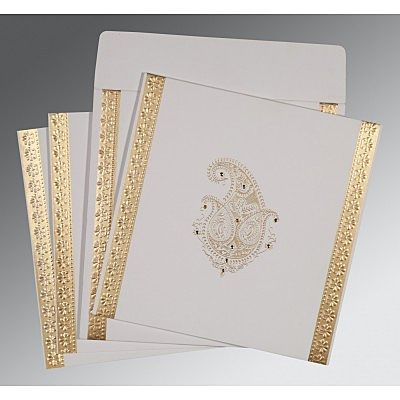Ivory Matte Paisley Themed - Embossed Wedding Invitation : CI-8231J - IndianWeddingCards