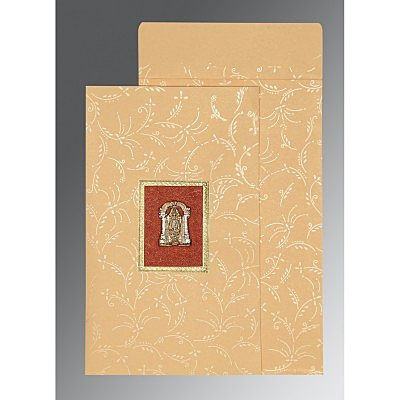 Ivory Matte Screen Printed Wedding Card : CSO-1303 - IndianWeddingCards