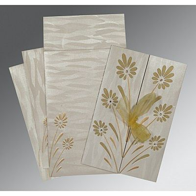 Ivory Shimmery Floral Themed - Embossed Wedding Card : CC-1372 - IndianWeddingCards