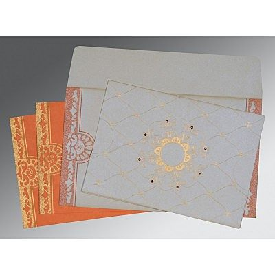 Ivory Shimmery Floral Themed - Screen Printed Wedding Card : CD-8227N - IndianWeddingCards