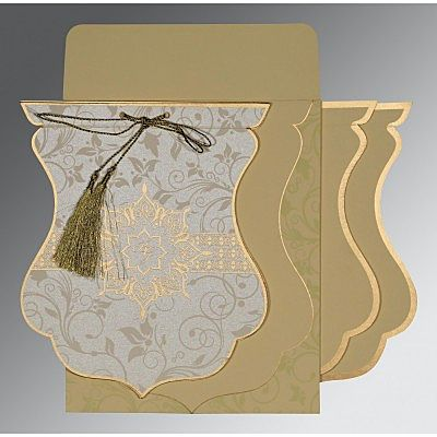 Ivory Shimmery Floral Themed - Screen Printed Wedding Card : CI-8229E - IndianWeddingCards