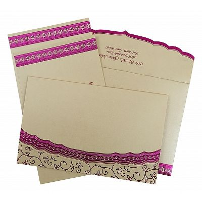 Ivory Shimmery Foil Stamped Wedding Invitation : CW-806C - IndianWeddingCards