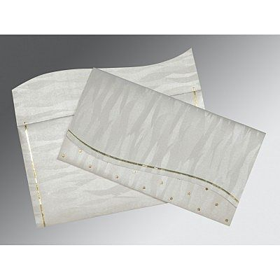 Ivory Shimmery Foil Stamped Wedding Card : CW-1435 - IndianWeddingCards