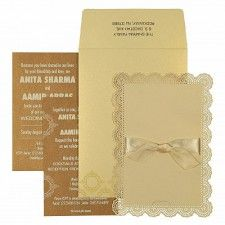 Ivory Shimmery Laser Cut Wedding Invitation : CRU-1588