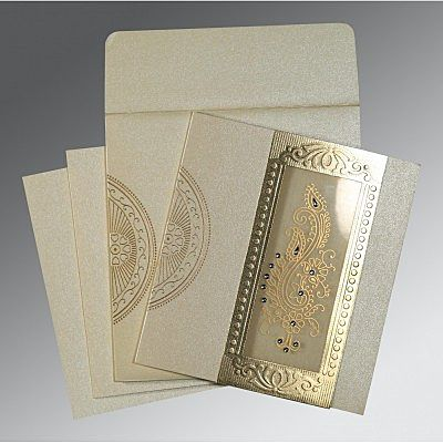 Ivory Shimmery Paisley Themed - Foil Stamped Wedding Invitation : CC-8230O - IndianWeddingCards