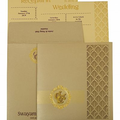 Ivory Shimmery Paisley Themed - Laser Cut Wedding Invitation : CD-1929 - IndianWeddingCards