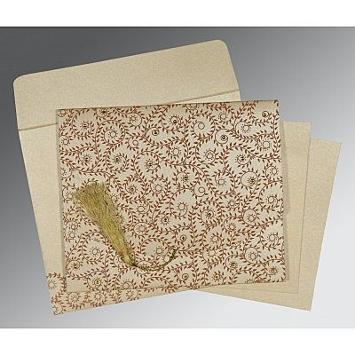 Ivory Shimmery Screen Printed Wedding Invitation : CD-8217O - IndianWeddingCards