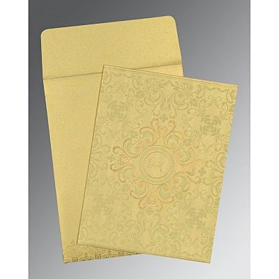 Ivory Shimmery Screen Printed Wedding Card : CRU-8244J - IndianWeddingCards