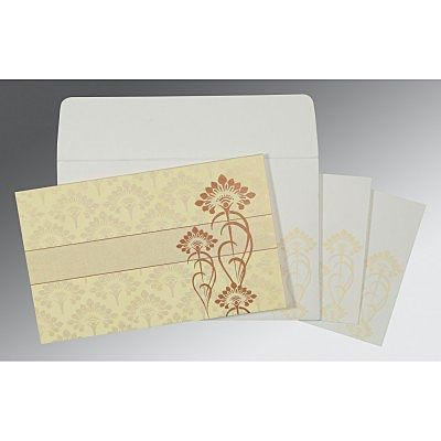 Ivory Shimmery Screen Printed Wedding Card : CW-8239I - IndianWeddingCards