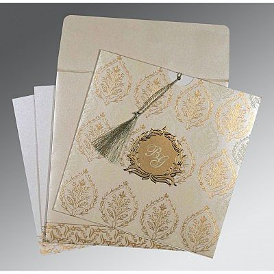 Ivory Shimmery Unique Themed - Foil Stamped Wedding Card : CIN-8249B - IndianWeddingCards