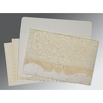 Ivory Wooly Embossed Wedding Invitation : CI-8221I - IndianWeddingCards